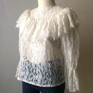 Vintage Handmade Lace Blouse Size M